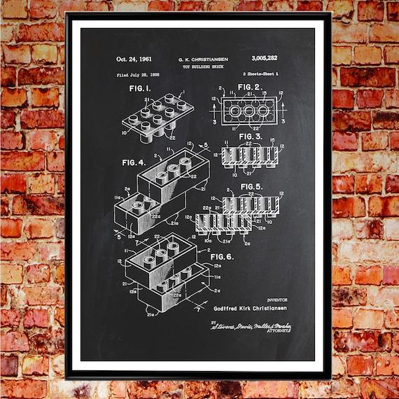 Lego Brick Patent Print Patent Poster Lego Art WB001