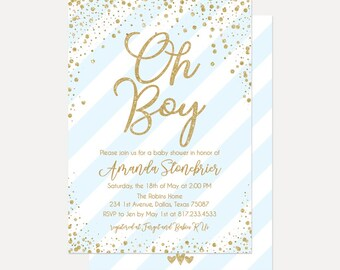 Blue Vertical Stripes Baby Shower Invitation, Baby Shower Invitation Template, Digital Download, Printable Baby Shower Invitation