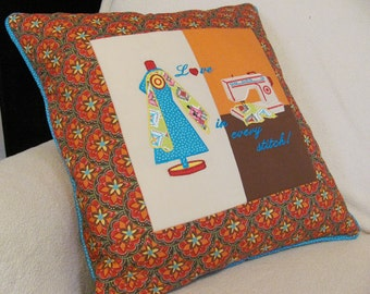 Quilted Pillow Applique Embroidered Sewing Theme