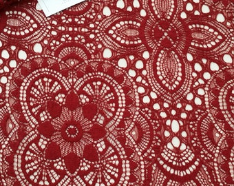 Burgundy lace fabric, France Lace, Embroidery lace, red lace, Wedding Lace, Evening dress lace, Lingerie Lace, Alencon Lace JK10094