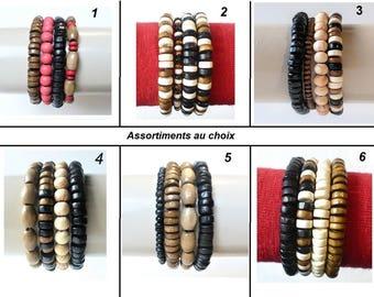 4 stretch bracelets wood - cuff - man / woman. red brown black beige