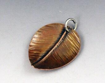 CS16 - Copper Leaf Charm by michelegradydesigns - Fold Formed Copper Leaf Charm Pendant