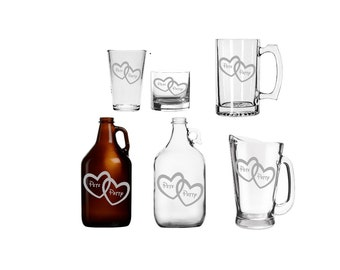 Custom Linked Hearts Barware Valentines gift personalized customized mug glass beer wine growler