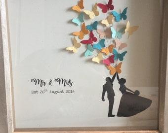 Mr & Mrs Balloon Print Box Frame