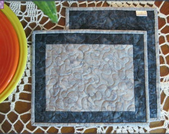 Quilted Mug Rug, Candle Mat, Navy Gray Batik, Kitchen Decor, Table Decor 481