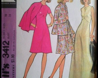 """McCall's 3412  Misses' Dress And Jacket  Bust 38"""""""