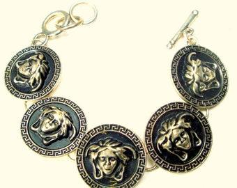 Art Deco Silver Gorgon or Medusa Bracelet, Round Classic FACE Links, Very Bold 1980s
