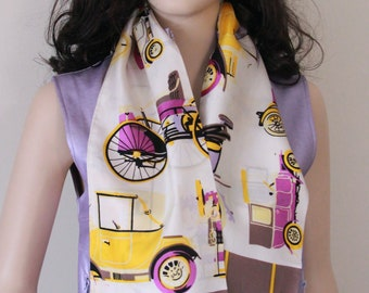 Vintage 1960s Acsot Scarf by Ann, Antique Automobiles in shades of Purple, Yellow, and Taupe, Antique Car Club, Antique Automobile Collector