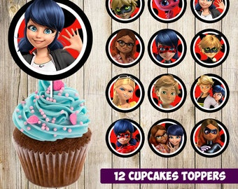 12 miraculous ladybug Cupcakes Toppers instant download, Printable miraculous ladybug party cupcakes Topper, miraculous toppers, 2 INCHES