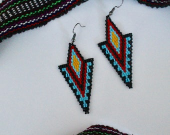 Double Bead Double Diamond Beaded Earrings
