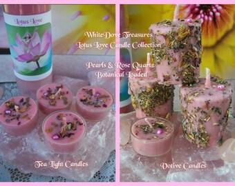 Lotus Love Tea Light Candles & Loaded Votive Candles + Rose Quartz Stone