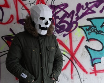 Skull mask. Paper mask. Low Poly . Fancy dress . Party clothes . Origami . Fancy dress. Papercraft