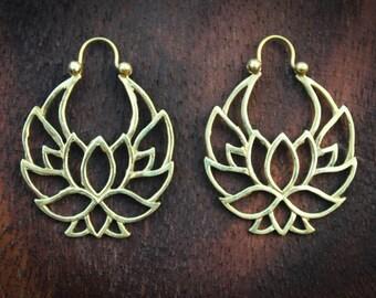 Brass, gypsy, festival, boho lotus flower earring