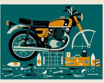 Broken Motorcycle Screen Print Variant
