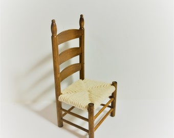 Dollhouse Miniature Ladder Back Chair Twine Seat 1:12 Scale Walnut Finish