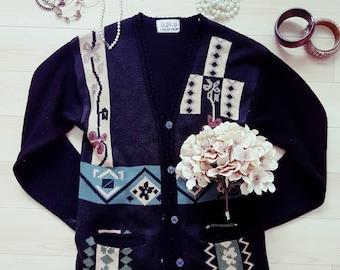 Vintage 1980s Art Deco Cardigan/Size Medium/Women's Vintage Sweater/ Ladies Cardigan with Pockets/Women's Apparel/Black Vintage  Sweater