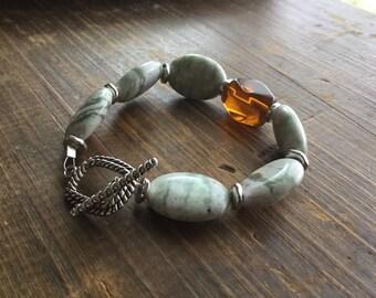 Jasper - Amber - Natural - Vibrant - Sterling Silver