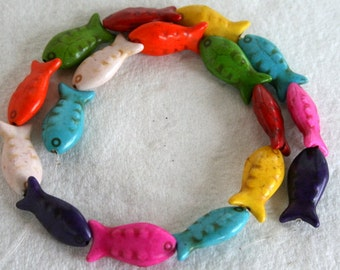 Colorful Mix of Turquoise/Magnesite Carved Fish Beads