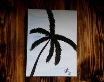 Palm tree painting, Watercolor palm tree, Original painting, Black and blue, Summer collection 2016, Black palm tree, Beach painting