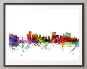 Winnipeg Skyline, Manitoba Canada Cityscape Art Print (1302)