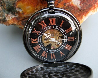 Timeless Black Pocket Watch with Watch Chain, Engraved Watch, Personalized Gift, Groomsmen Gift, Men's Watch, Gift Boxed - Item MPW821