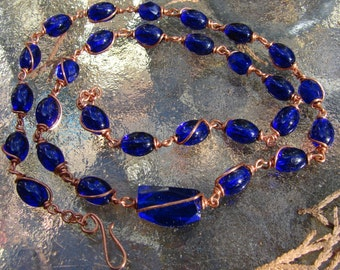 Copper Wrapped Cobalt Bead Necklace