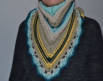 100% cotton triangle crochet scarf shawl - hand crochet scarf