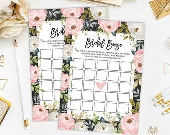Blush Pink Floral Bridal Shower Bingo Printable Game Cards. Cottage Chic Flower Bridal Shower. Garden Party Bachelorette Hens Night. PLT2