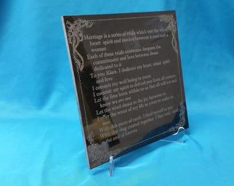 """12""""X12"""" Laser Engraved Granite Tile"""