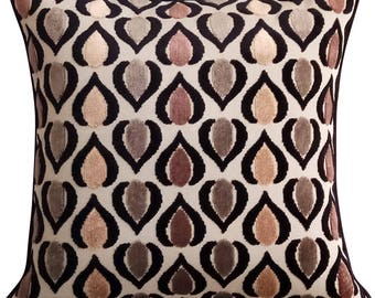 "Luxury Throw Pillows Cover, 16""x16"" Velvet Pillow Covers, Square Abstarct Throw Pillows Cover, 3D Pillow, Brown - Abstract Deco"