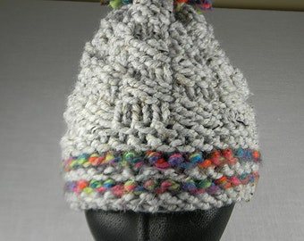 Pom Pom Hat, Hand Knit Pom Pom Hat, Cloche Hat, Toque, Rainbow Hat
