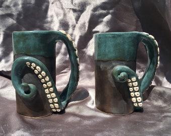 Set of 2 Octopus tentacle mugs