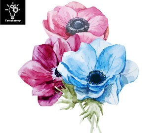 Floral Temporary Tattoo Watercolor Flower Tattoo Anemone Tattoo Watercolor Tattoo Peony Tattoo Botanical Tattoo Faux Tatouage Temporaire