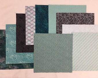 """Aqua Mist Cake Fabric   40 - 10"""" Squares"""