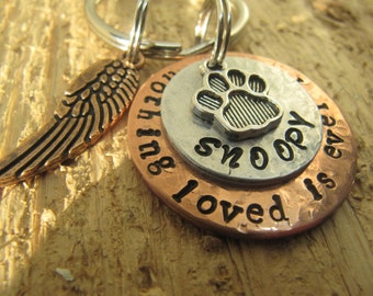 pet memorial keychain,Nothing loved is ever lost,dog memorial,memorial key chain,cat memorial key chain,loss of pet, sympathy gift