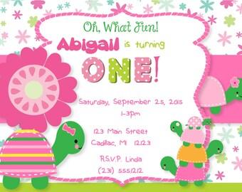 Turtles 1st Birthday Invitation