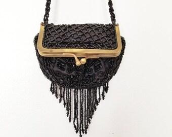 Vintage beaded silk evening purse / coin purse / beaded bag