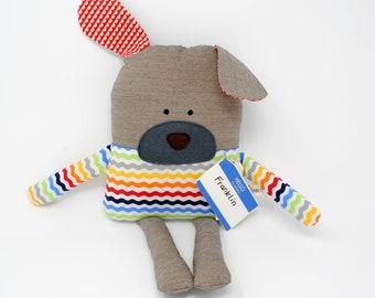 Dog Stuffed Animal-Dog Plush-Dog Softie-Dog Lovey-Dog Toy-Dog-UpCycled-Repurposed-Hand Sewn Toy-Puppy-Birthday Present-Child's Puppy Toy