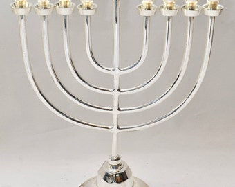 High Quality Menorah ( Hanukiah ) Silver Plated From Holy Land H/27 cm x W/19 cm
