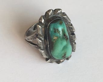 wonderfully rustic turquoise and sterling ring, size 6.5, signed