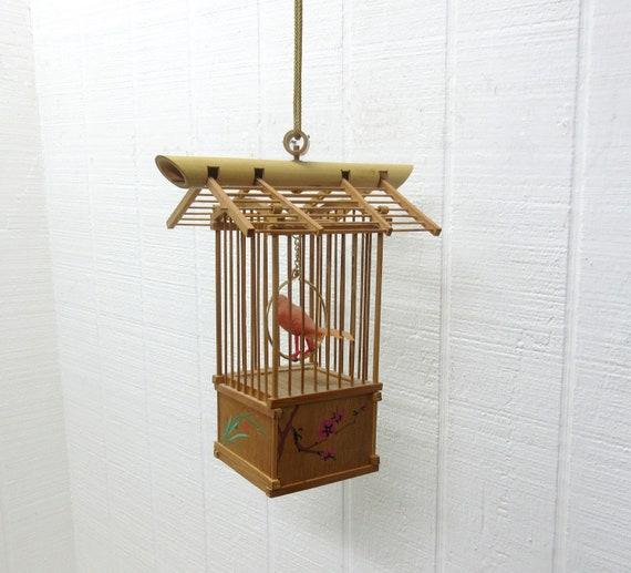 Vintage uTo Singing Bird In Wooden Cage