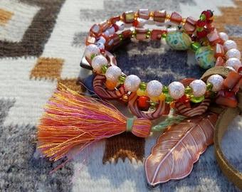 OK To Be Crazy Memory Wire Beaded Bangle Boho Bracelet