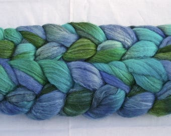 Blueface Leicester Tussah Silk Spinning Fiber - 'Blueberry'