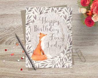 Cute Funny Foxy Lady  Birthday Card / Happy Birthday Card / Birthday Greeting Card / Fox Birthday Card / Birthday Card for Friend / Birthday