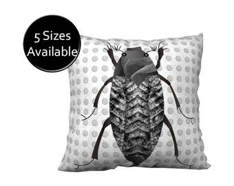 Black Bug Pillow, Printed Accent Pillow Cover, Square Oblong Rectangular Lumbar, Velveteen Canvas, Insect White Gray, Decorative Throw Cover