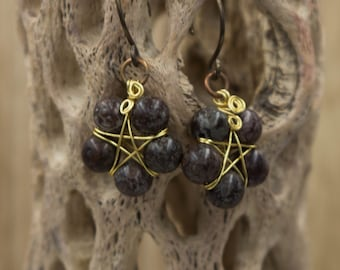 Beaded Pentacle Earrings