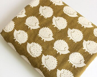 Hedgehog cotton linen fabric  Scandinavian fabric  Nordic fabric Home decor fabric Heavy weight by a half yard - 1/2 yard