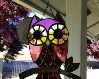 Little owl stained glass suncatcher