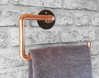 Copper Hand Towel Holder, Hand Towel Rack, Hand Towel Hanger, Copper Bathroom Fixtures, Industrial Bathroom Decor