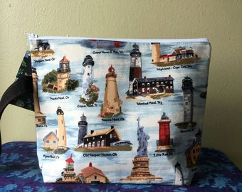 Large Clear Front Project Bag- Lighthouses